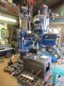 Archdale 1.2 metre radial arm drill with qty of drill bits, T-slot box table 920 x 625 x 560mm, mach