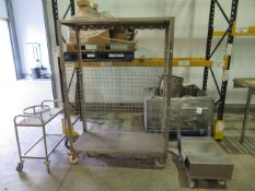 1 x SS Mobile trolley used to transport packaging material, 1 x SS Tralley with bucket frame, 1 x SS