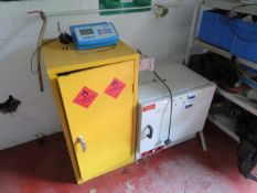 1 x Chemical Cabinet 600 x 300 x 900, 1 x Genlab Lab oven, Aluminium Rack with assorted laboratory i