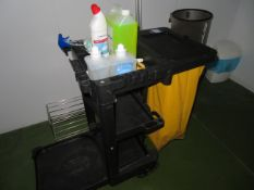 Janitors trolley and contents. Rubbermaid Commercial Products. Mops and Bucket.