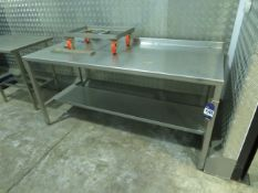 1 x SS Preparation table, 1 x SS table, 1 x SS mobile bin trolley, 1 SS Cabinet - unused in wrapping