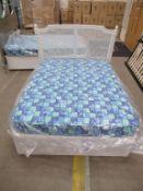 "4'6"" Double Divan Bed with Kingsize Mattress and Wicker Headboard"