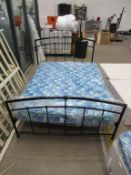 """4'6"""" Double Metal Framed Bed with Headboard and Mattress"""