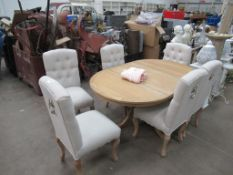 Oak effect extending Dining Room Table with 6 Upholstered Chairs
