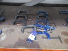 x4 Olympia 'G' Clamps with x5 Record No4 'G' Clamps and 2 Mini 'G' Clamps