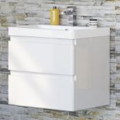NEW & BOXED 600mm Denver II Gloss White Built In Basin Drawer Unit - Wall Hung.RRP £849.99.MF2401.