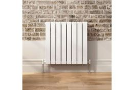 NEW & BOXED 600x600mm Gloss White Double Flat Panel Horizontal Radiator - Premium. RRP £349.99.
