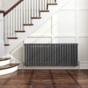 NEW & BOXED 600x1188mm Anthracite Double Panel Horizontal Colosseum Traditional Radiator. RCA565.RRP