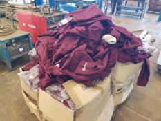 Pallet of Maroon Overalls Inc many in Polythene Wrappers