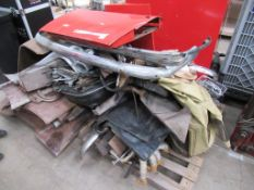 Qty of Triumph TR4 Body panels, bumpers, seats, exhaust manifold etc