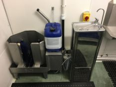 Bobet Material single Boot wash, 3 tap SS Teknomek knee operated sink with macerator and Boot rack.