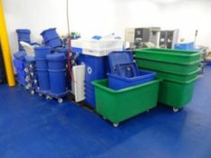 Assorted selection of plastic factory product bins, tubs, trolleys and dollys