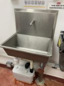 3x Wall mounted SS single sinks with knee operation. 2 with Macerators. 4 single drum Chemical cages