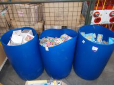 Large quantity of assorted children's toys / games to 3 x plastic drums, to include: Stretchies