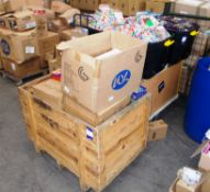 Large quantity of assorted children's toys / games, to 2 x wooden trolleys, and 2 x plastic boxes,