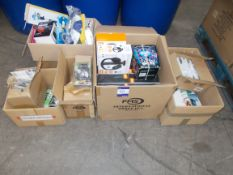 7 x Boxes of assorted electronics equipment, to include: Sound Republik wireless headphones,