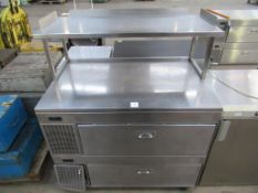 Chilled stainless steel display unit with two drawers