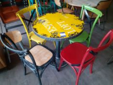 Distressed Top Steel Pedestal Café Table with 4 Ch
