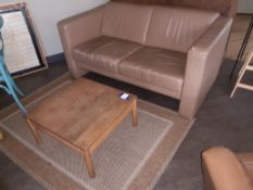 Oak Low Table with Vintage 2 Seat Sofa, Brown Leat
