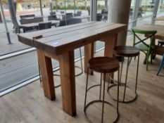 Pine Bar Table with 4 Tubular Steel Bar Stools