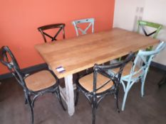 Oak Dining Table with 6 Painted Wood Chairs