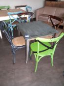 Steel Framed Painted Top Café Table with 4 Chairs