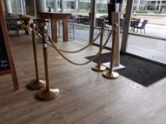 4 Brass Barrier Posts with 2 Gold Ropes
