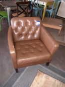 Pair of Mid Century Brown Vinyl/Leather Upholstere