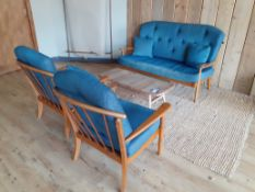 Ercol Style Two Seat Sofa with 2 Matching Armchair