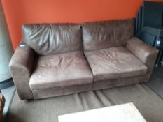Two Seat Sofa, Brown Leather