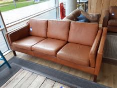 Vintage Stouby three seat sofa, tan leather