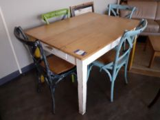 Pine Kitchen Table with 4 Painted Wood Chairs