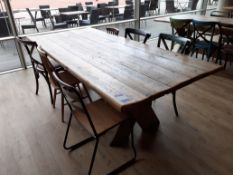 Timber X Frame Table with 6 Various Chairs