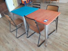 2 Steel Framed Painted Top Café Tables with 4 Tubu