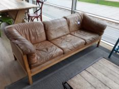 Vintage Stouby timber framed three seat sofa, ligh