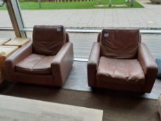 2 Vintage Armchairs, Brown Leather