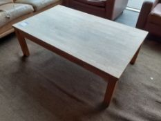 Oak Low Table and Vintage 3 Seat Sofa, Light Brown