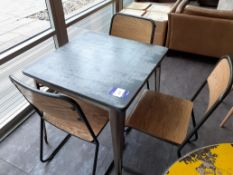 Steel Framed Painted Top Café Table with 3 Chairs