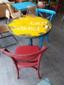 Distressed Top Steel Pedestal Café Table with 2 Ch