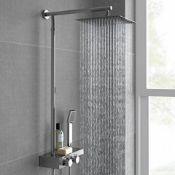 """NEW & BOXED Square Thermostatic Bar Mixer Shower Set Valve with Shelf 10"""" Head + Handset. RRP £499."""