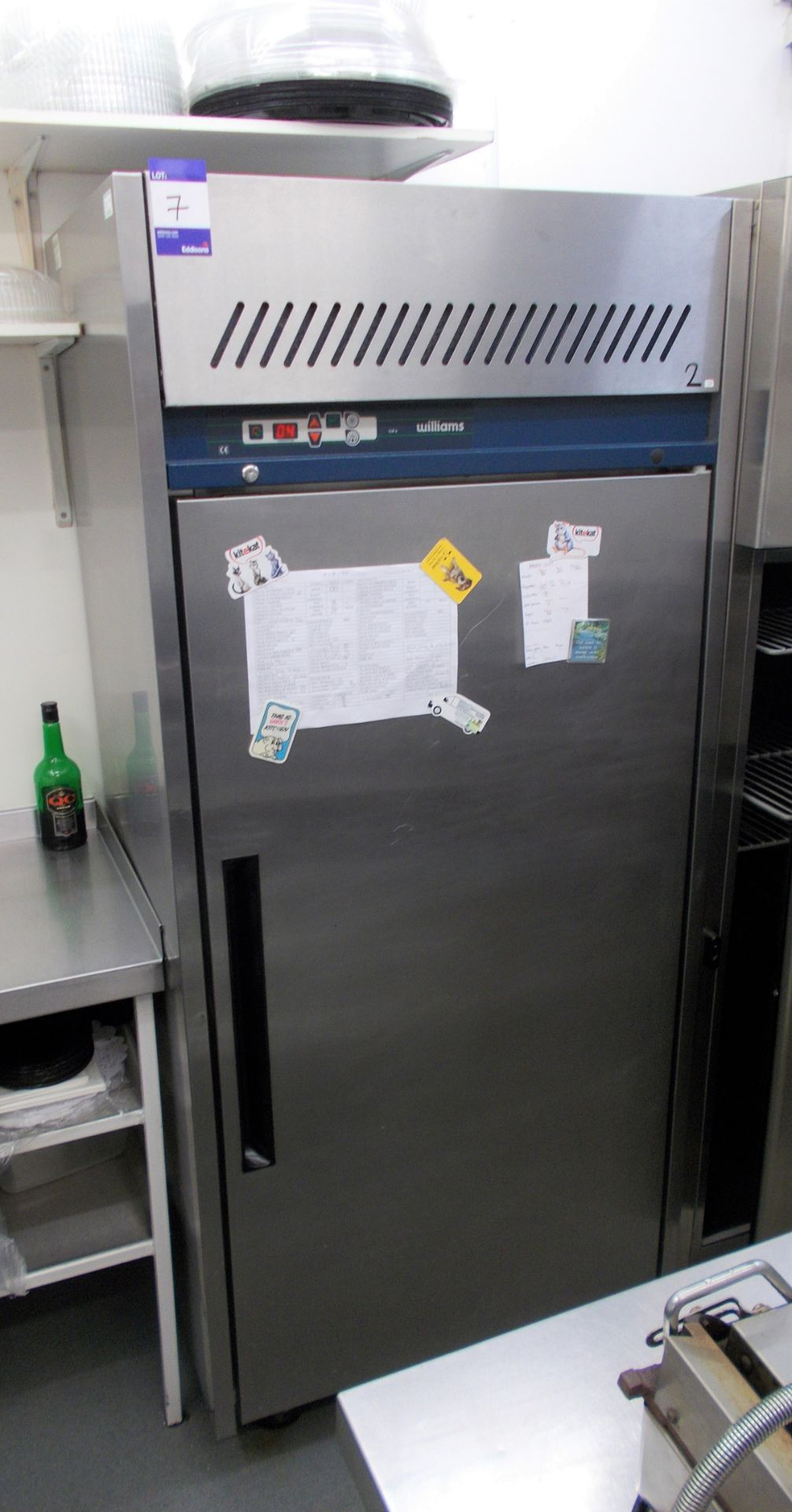 Williams upright mobile refrigerator. Dimensions: H: 6ft 5 x W: 2ft 10 x D: 2ft 3