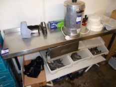 Stainless steel preparation table. *Please note, this item is located in the cellar.