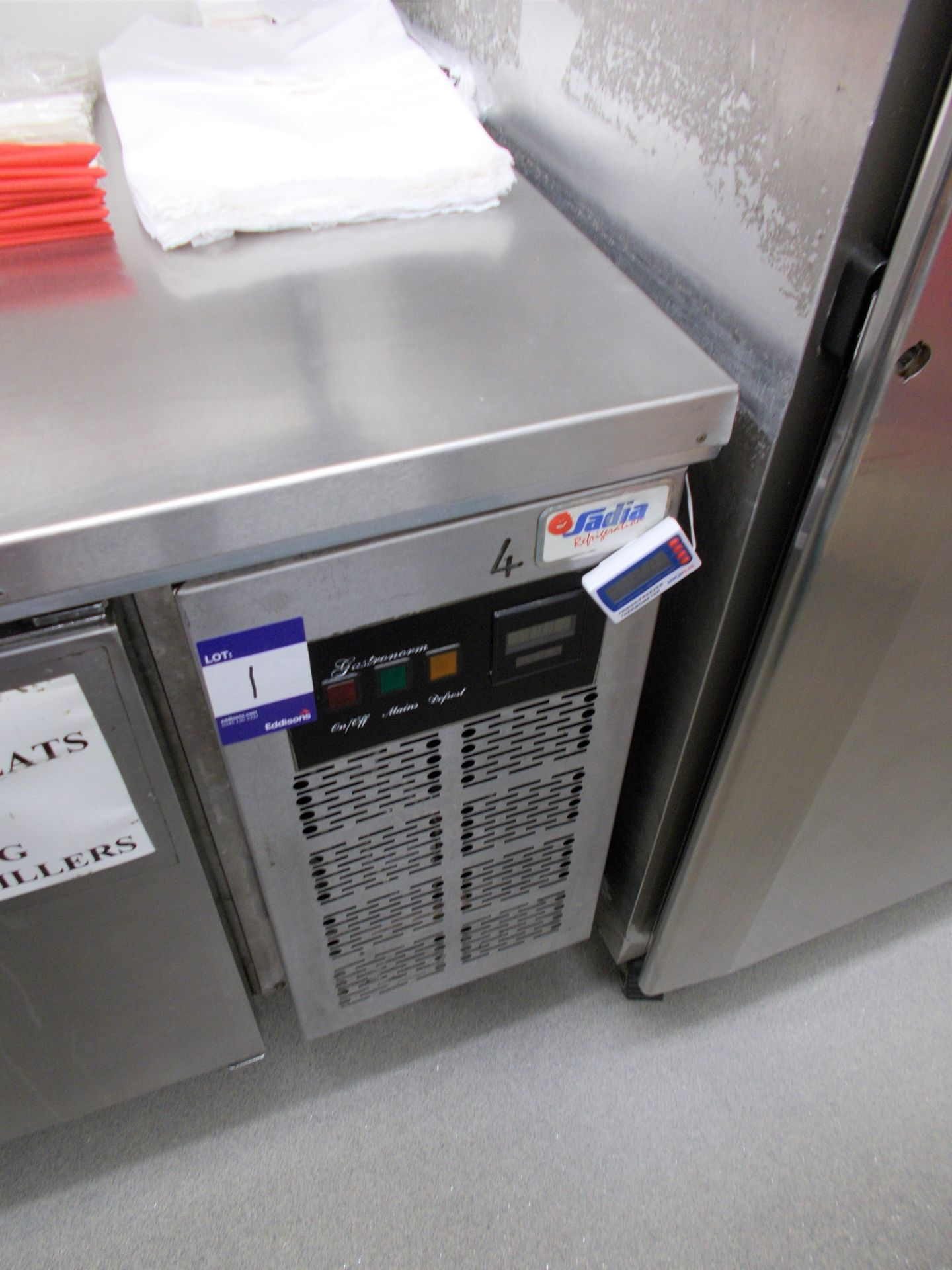 Sadia Refrigeration stainless steel worktop with 3 door undercounter chiller, and overhead stainless - Image 3 of 3