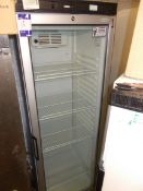 Tefcold glazed fronted upright chiller. Dimensions: H: 6ft, x W: 2ft, x D: 2ft. *Please note, this