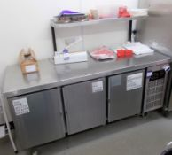 Sadia Refrigeration stainless steel worktop with 3 door undercounter chiller, and overhead stainless