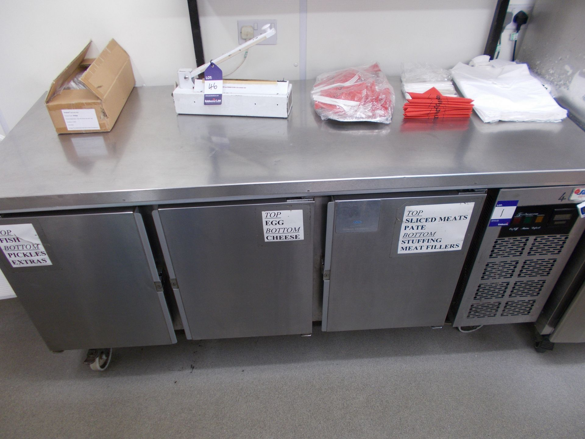 Sadia Refrigeration stainless steel worktop with 3 door undercounter chiller, and overhead stainless - Image 2 of 3