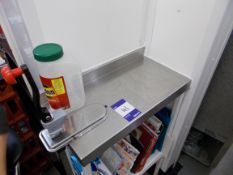 Stainless steel preparation table with can opener. *Please note, it is the purchasers responsibility