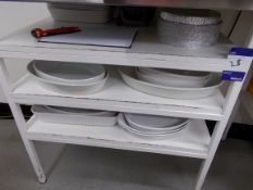 Assortment of crockery, cutlery etc to shelving