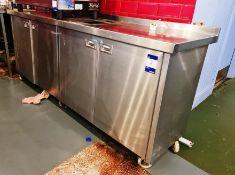 Stainless Steel 4-Door Coffee Service Counter, 6ft