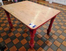 Red Leg Pine Kitchen Table, 4ft & Circular Mirror